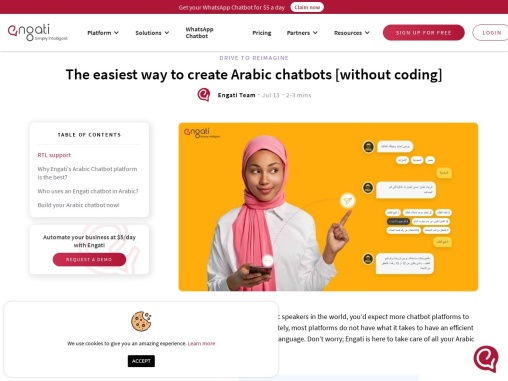 Create intelligent Arabic chatbots with low to no coding