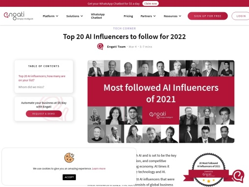 Top 20 AI Influencers you need to follow in 2021