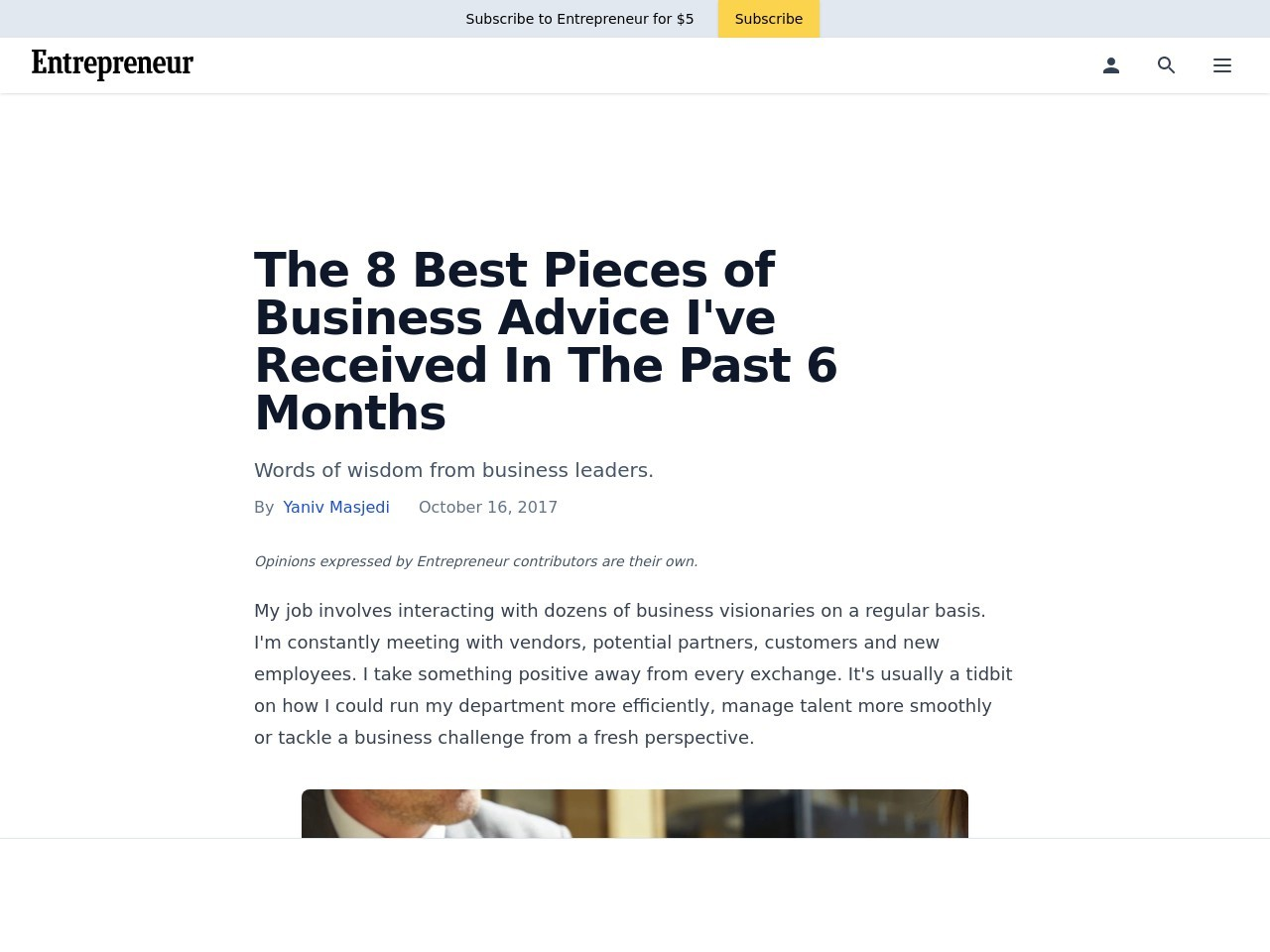 The 8 Best Pieces of Business Advice I've Received In The Past 6 Months