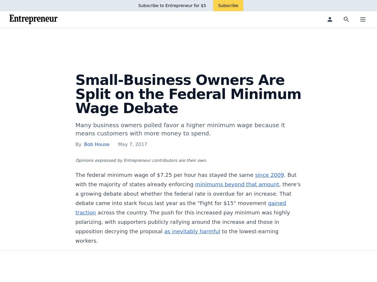 Small-Business Owners Are Split on the Federal Minimum Wage Debate