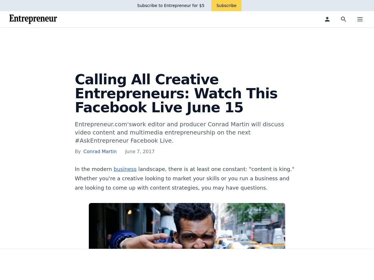 Calling All Creative Entrepreneurs: Watch This Facebook Live June 15