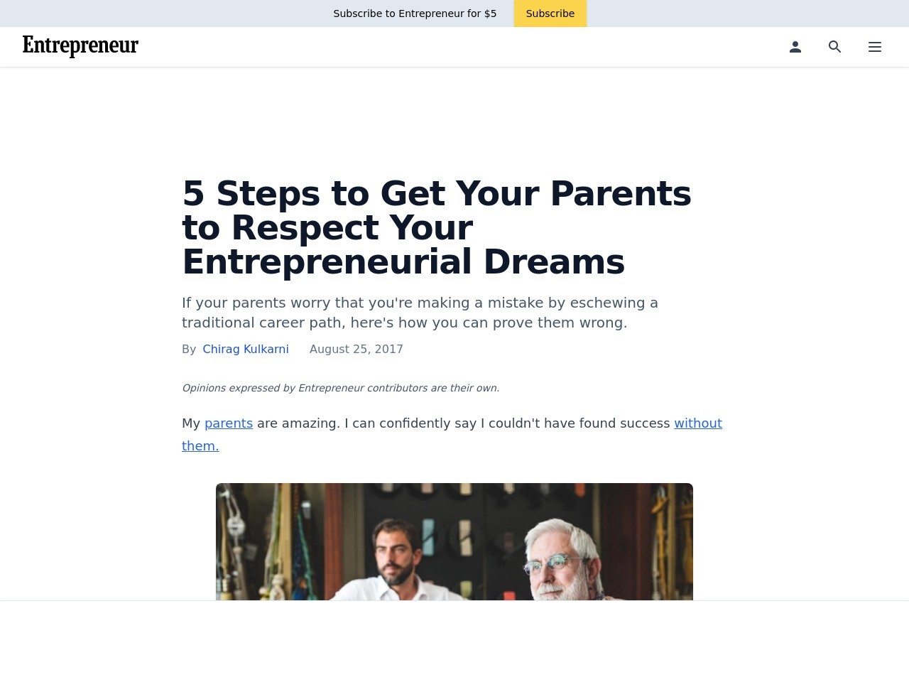 5 Steps to Get Your Parents to Respect Your Entrepreneurial Dreams