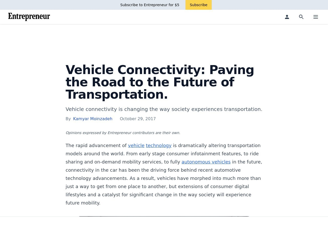 Vehicle Connectivity: Paving the Road to the Future of Transportation.