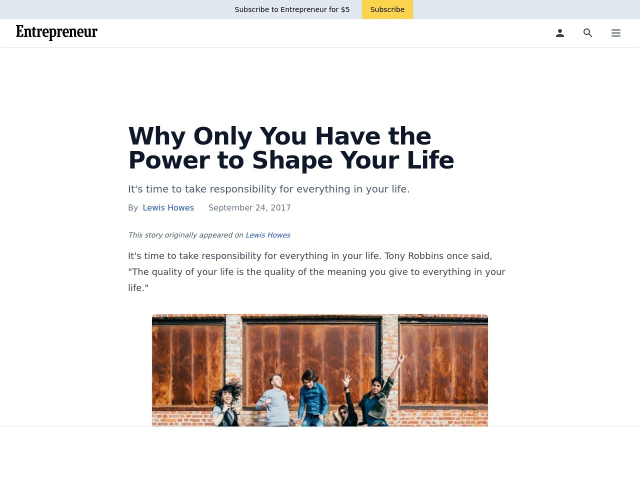 Why Only You Have the Power to Shape Your Life