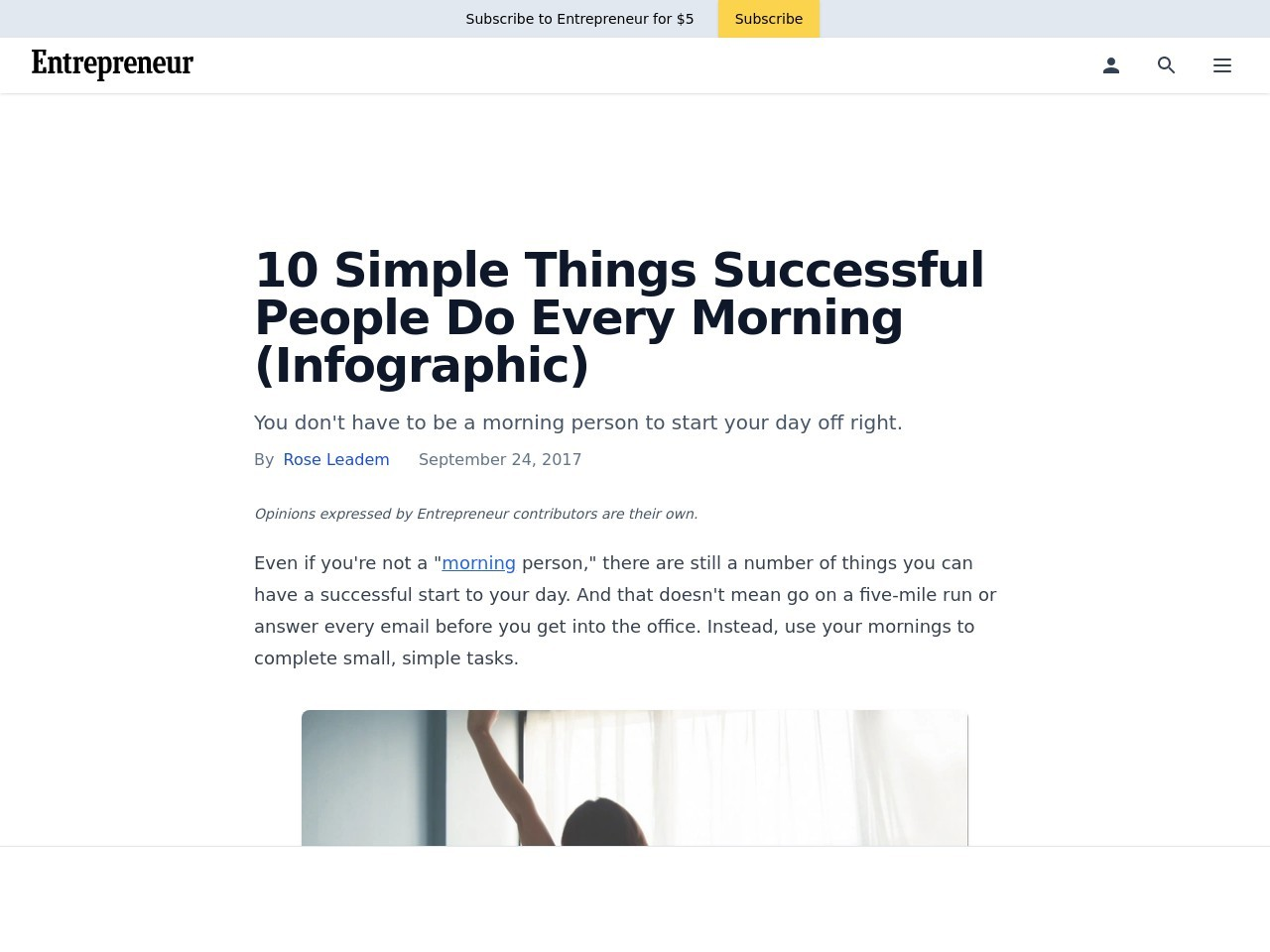 10 Simple Things Successful People Do Every Morning (Infographic)