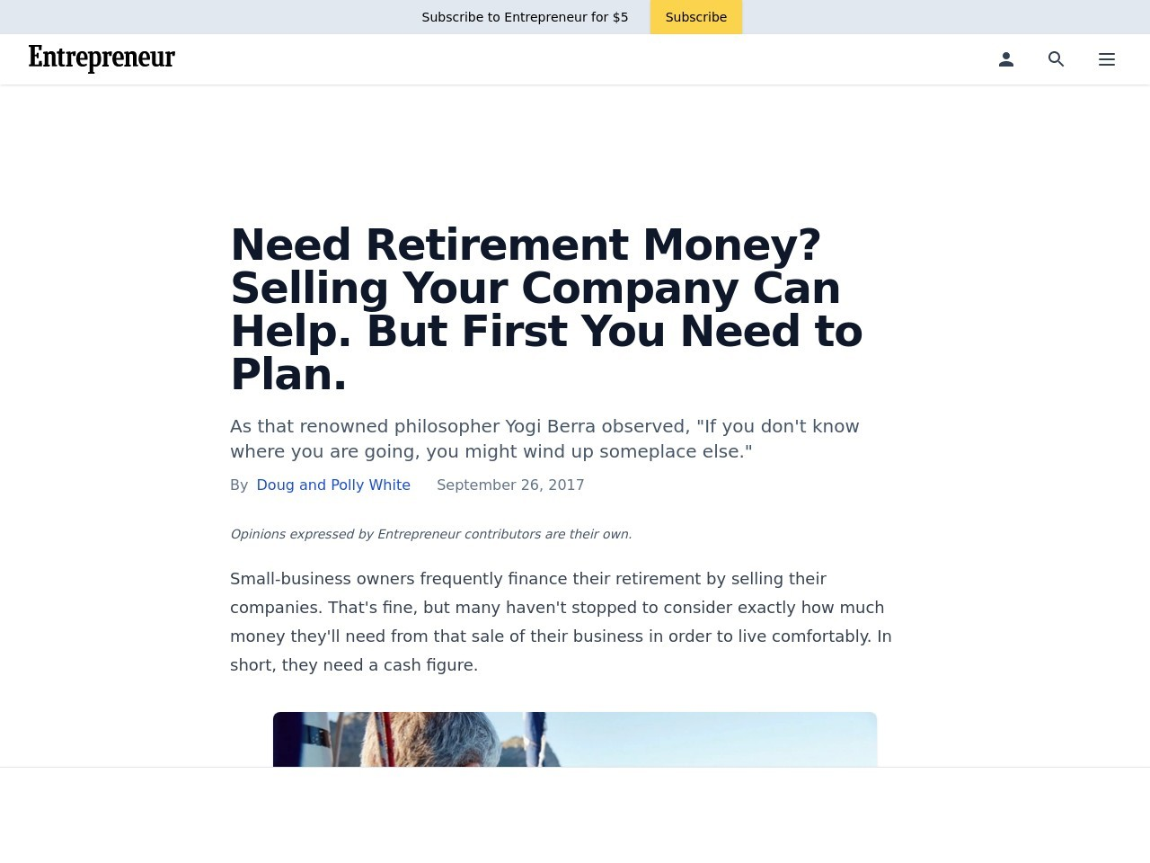 Need Retirement Money? Selling Your Company Can Help. But First You Need to Plan.