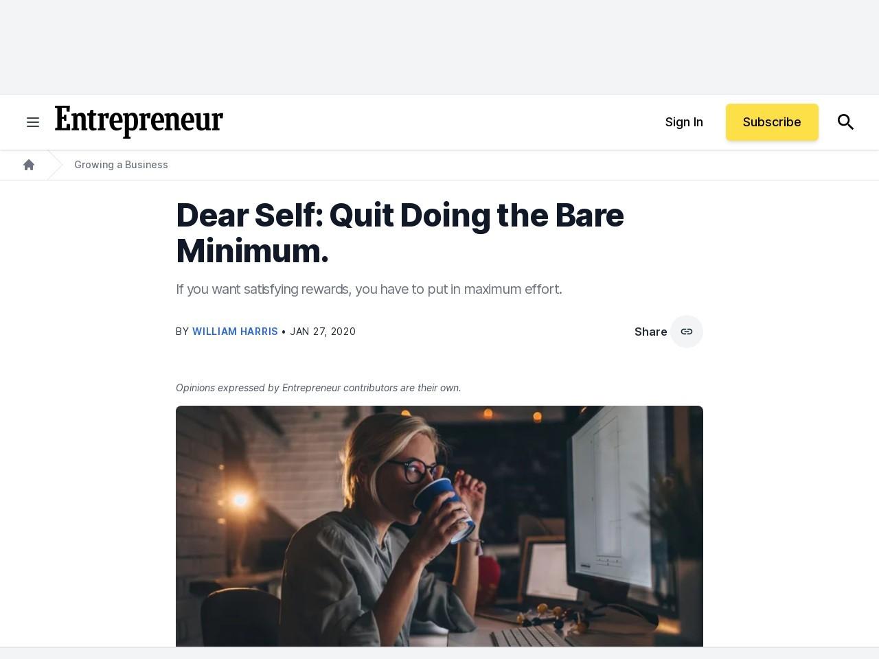 Dear Self: Quit Doing the Bare Minimum.