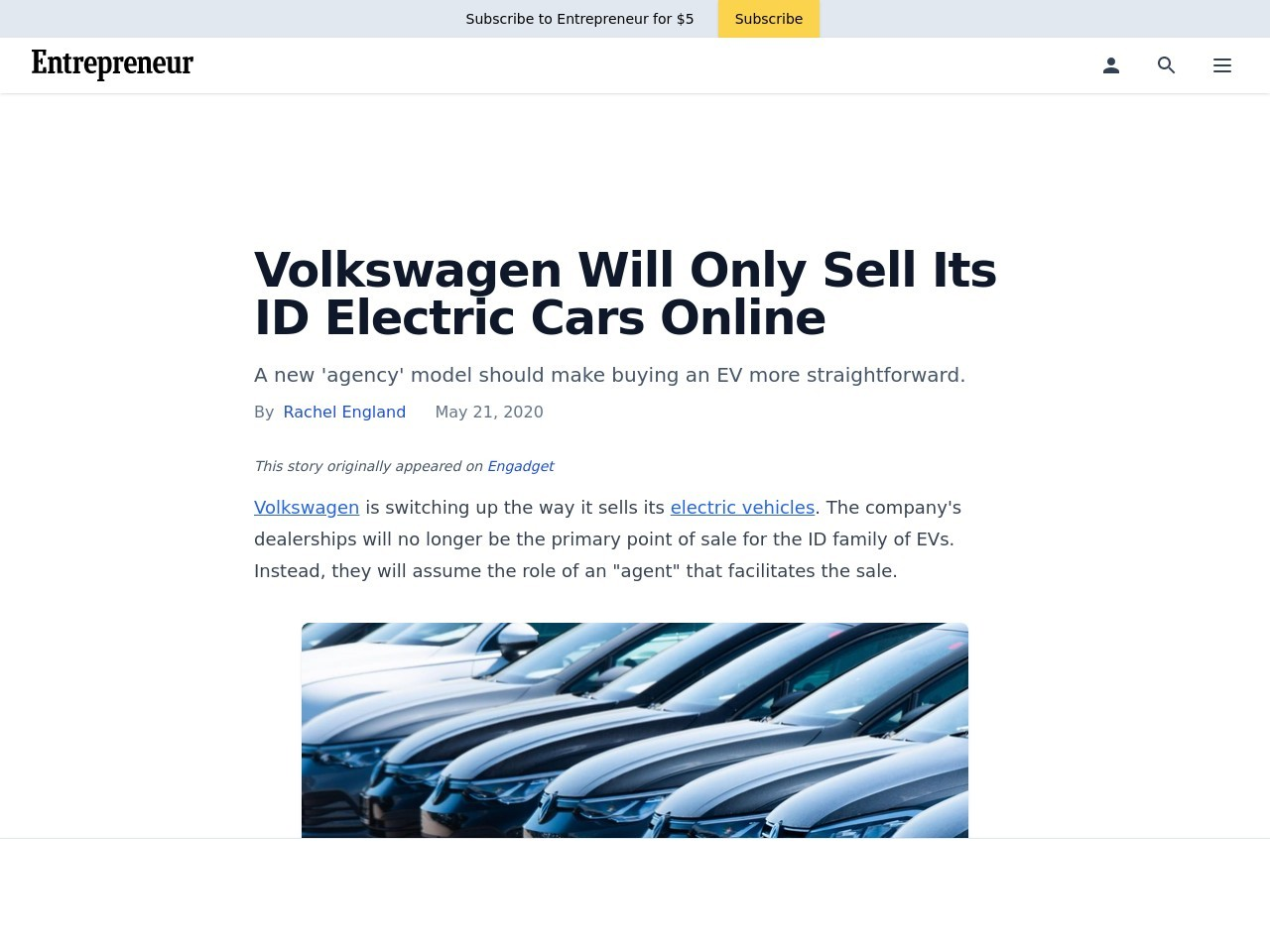 Volkswagen Will Only Sell Its ID Electric Cars Online