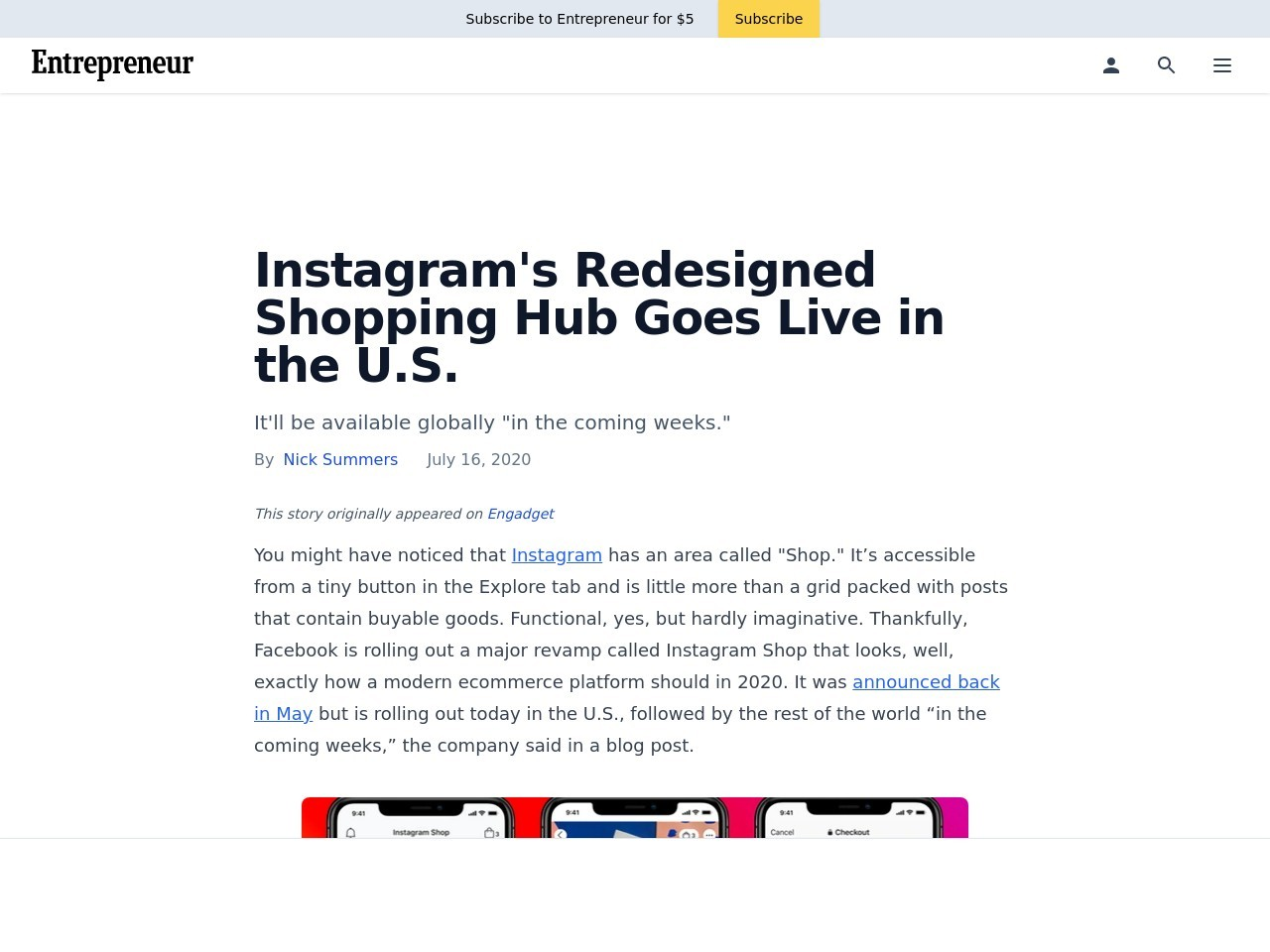 Instagram's Redesigned Shopping Hub Goes Live in the U.S.