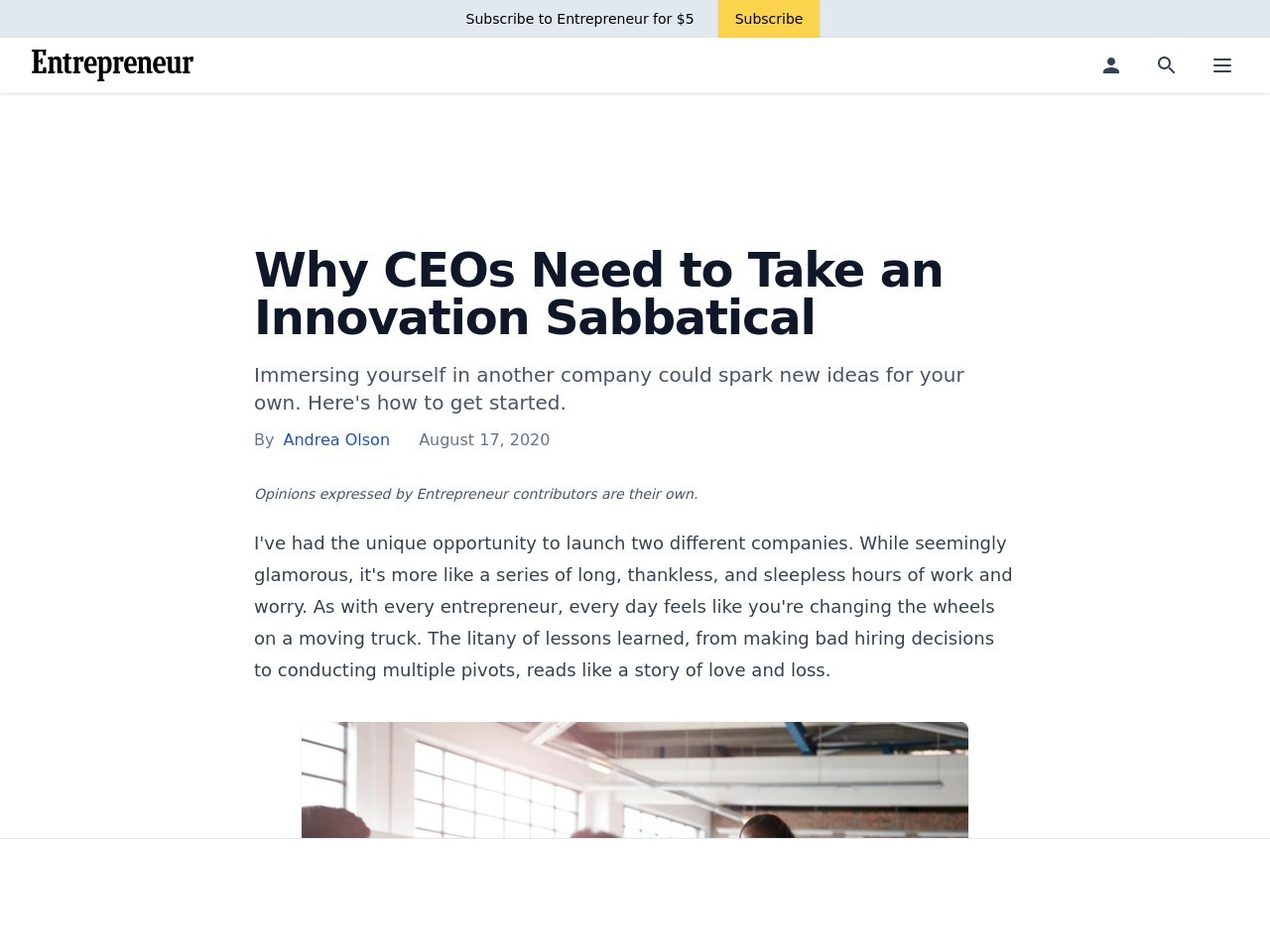 Why CEOs Need to Take an Innovation Sabbatical