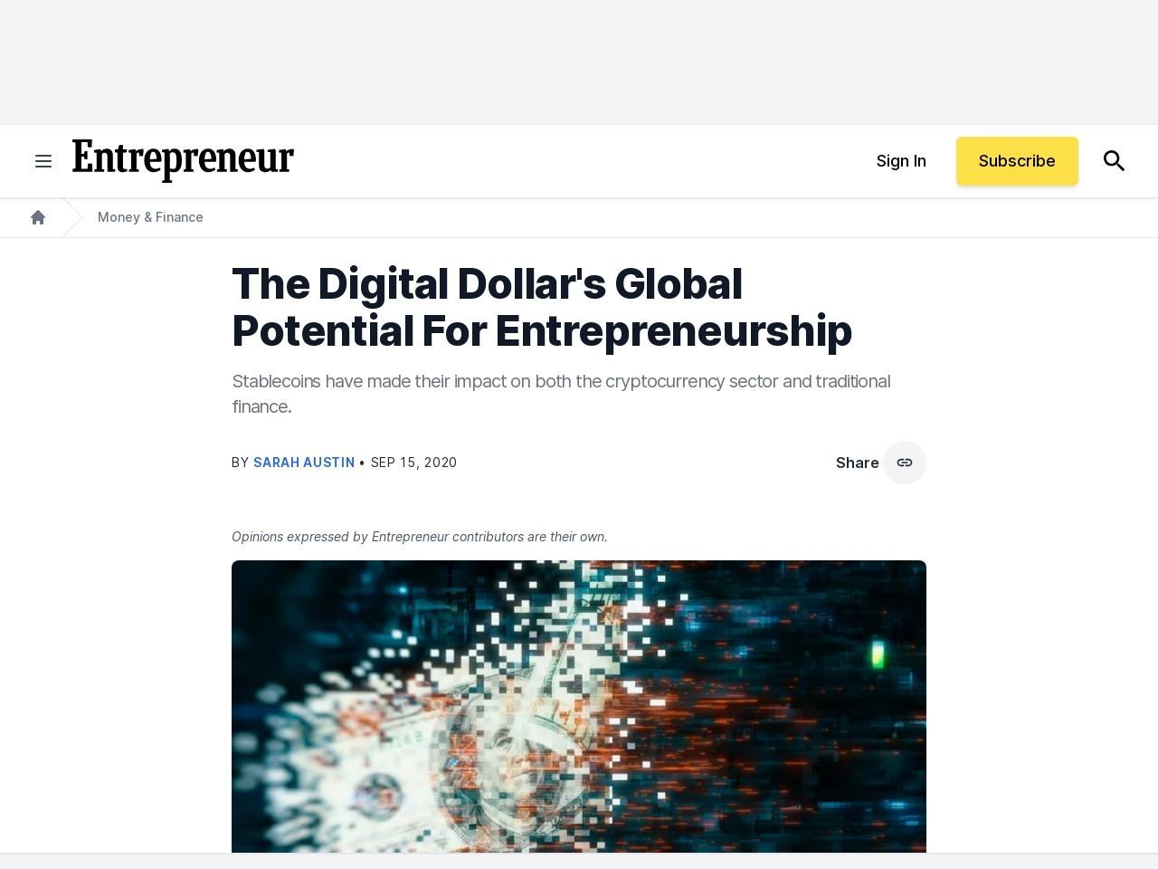 The Digital Dollar's Global Potential For Entrepreneurship
