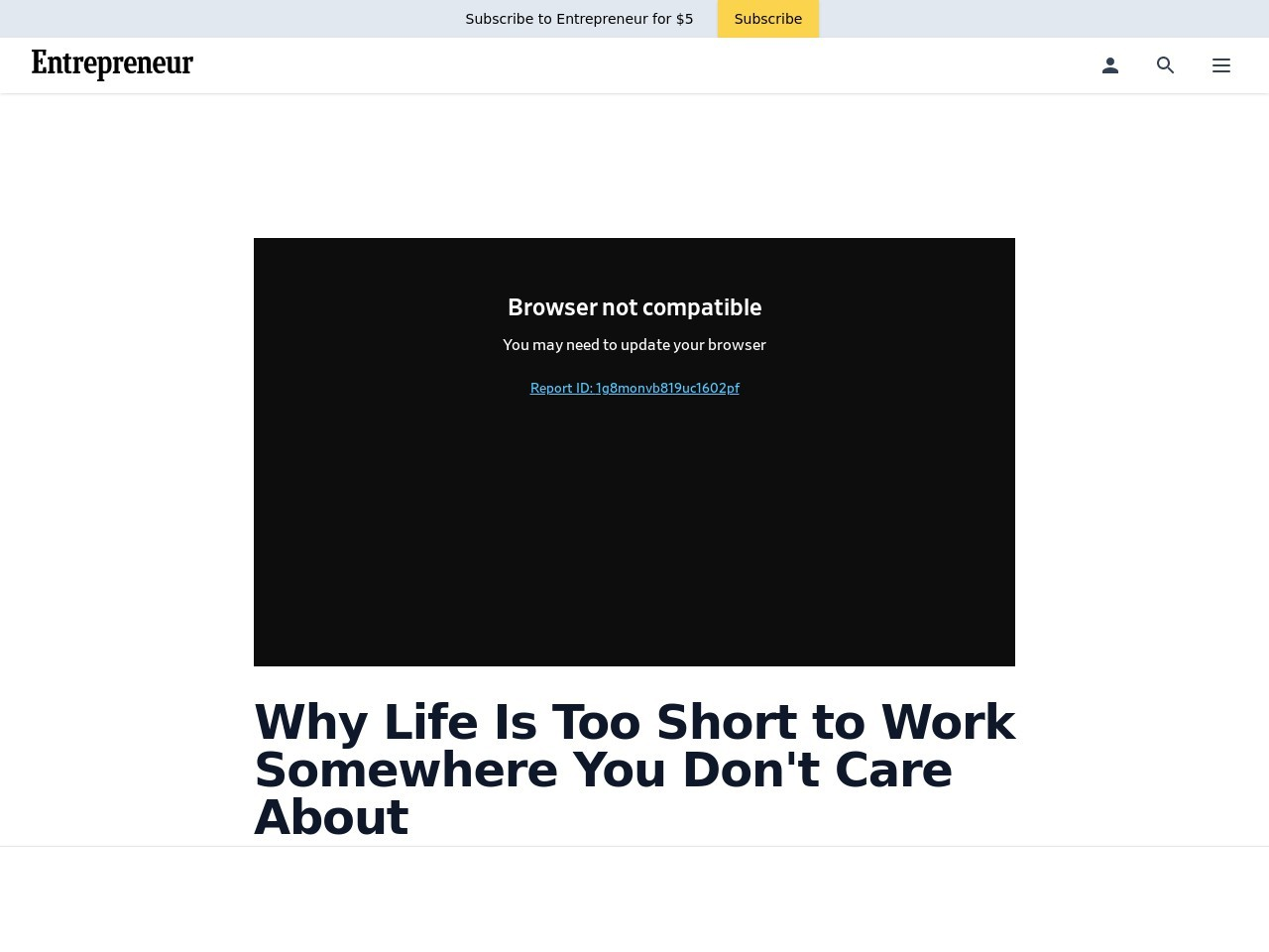 Why Life Is Too Short to Work Somewhere You Don't Care About