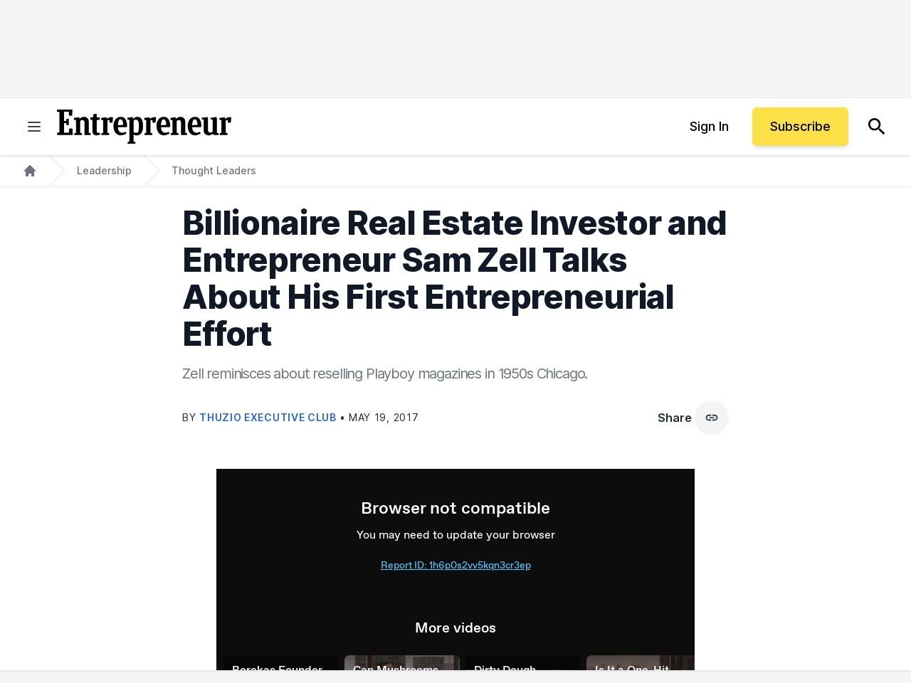 Billionaire Real Estate Investor and Entrepreneur Sam Zell Talks About His First Entrepreneurial Effort