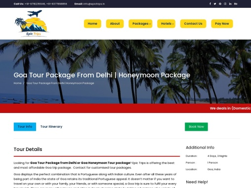 Goa Tour Packages From Delhi – Epic Trips
