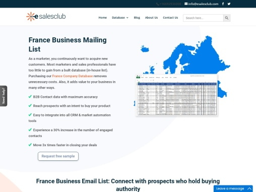Expand your business with Geo-Targeted France Business email address lists