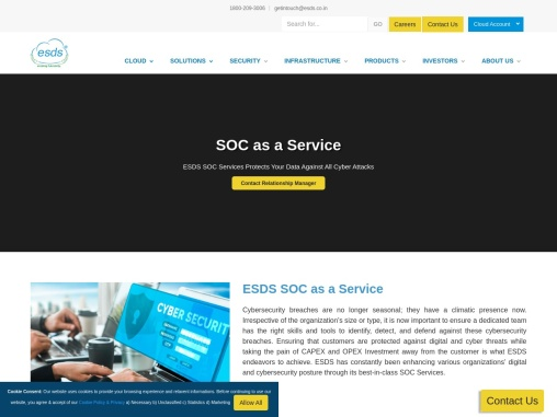 Security Operations Center Services   Managed SOC Services   ESDS