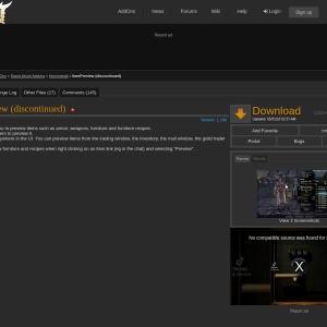 ItemPreview (discontinued) : Homestead  : Elder Scrolls Online AddOns