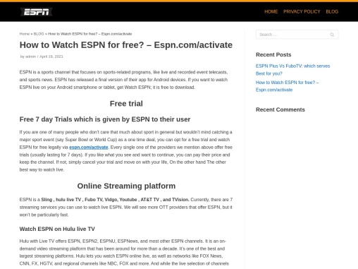 How to Watch ESPN for free? – Espn.com/activate
