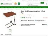 Over Bed Table with Wood Effect Top