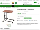 Overbed Table 2 or 4 castor for disabled people