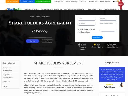 Shareholders Agreement | Online | Format