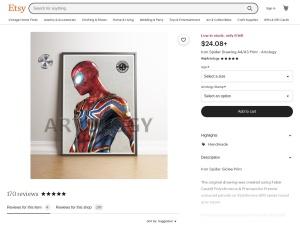 Iron Spider Drawing A4 Print  Artology | Etsy