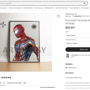 Iron Spider Drawing A4 Print Artology | Etsy