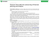 Reasons that justify the outsourcing of financial planning and analysis