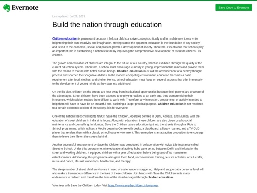 Build the nation through education