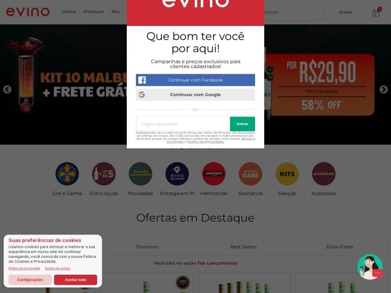 Evino screenshot