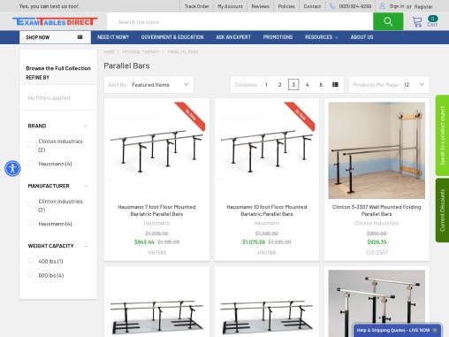 Physical Therapy Parallel Bars & Equipment – ExamTables Direct
