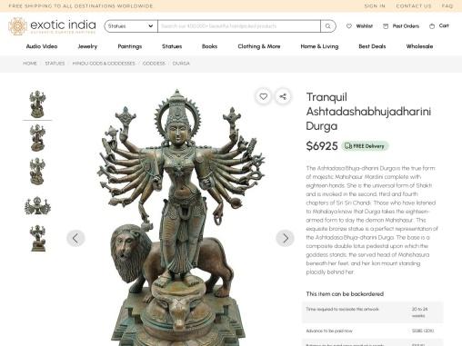 Tranquil Ashtadashabhujadharini Durga Bronze Statue