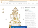 White And Gold Lord Ganesha Marble Statue