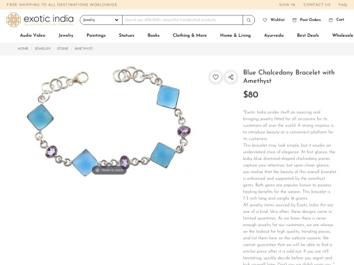 Get Silver Sterling Blue Chalcedony Bracelet with Amethyst