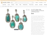 Get Lot of Five Spider's Web Turquoise Pendants with Garnet and Sterling Leaves