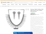 Sterling Silver Statement Spikes Necklace With Spike Drop Earrings Studded With Pink Gems