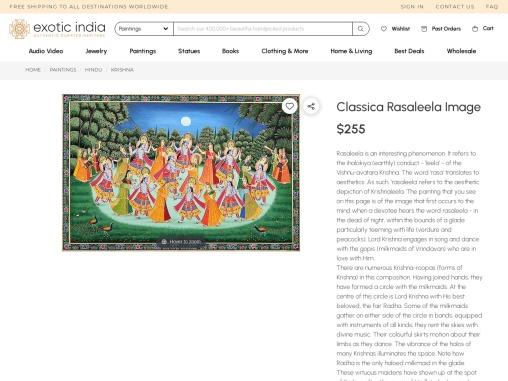 Classica Krishna Rasaleela Watercolor Painting On Cotton