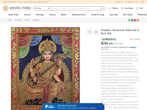 Get Antiquated Color on Board – Goddess Saraswati Adorned in Rich Silk