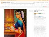 Get Oil Painting On Canvas – Large-Eyed Woman With Pooja Thali