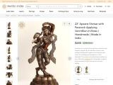 Apsara with Peacock Applying Vermillion-Brass Statue