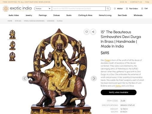The Beauteous Simhavahini Devi Durga Brass Sculpture