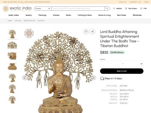 Get Buddha Brass Sculpture Bodhi Tree-Clad In A Bejewelled Robe – Tibetan Buddhist
