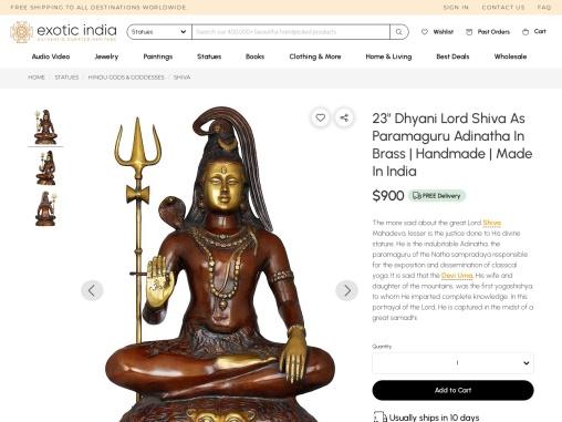Dhyani Lord Shiva As Paramaguru Adinatha Brass Statues