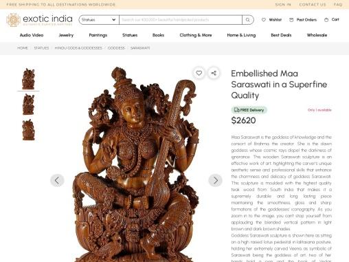 Teak Wood Embellished Maa Saraswati Sculptures