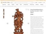 Get Floral Embellished Murli Krishna Carved in Teak Wood