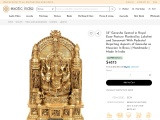 Get Ganesha Brass Sculptures Seated in Royal Ease Posture Flanked by Lakshmi and Saraswati