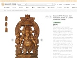 Wooden Sculpture Ganesha With Parasole And Kamandalu-Under An Ornate Kirtimukha Aureole