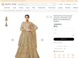 Get Dull-Gold Zari Embroidered Lehenga with Sequins and Beads with Embroidered Dupatta