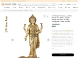 Haloed Standing Lakshmi Brass Statue Blesses You With A Steady Stream Of Plenty