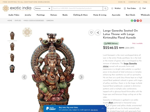 Get Large Ganesha Seated On Lotus Throne with Large Kirtimukha Floral Aureole